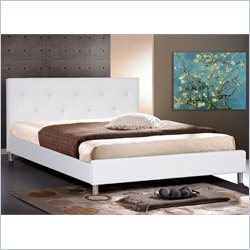 Barbara King Platform Bed with Crystal Button Tufting in White