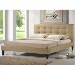 Baxton Studio Quincy Queen Platform Bed in Dark Beige