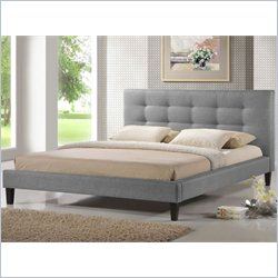 Baxton Studio Quincy Queen Platform Bed in Grey
