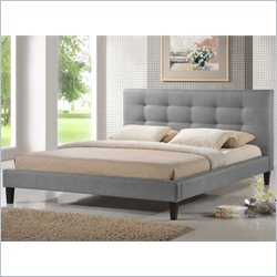 Baxton Studio Quincy King Platform Bed in Grey