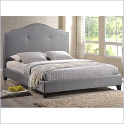 Baxton Studio Marsha Scalloped Full Platform Bed with Upholstered Headboard in Grey