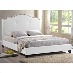 Baxton Studio Marsha Scalloped Platform Bed with Upholstered Headboard in White - Queen
