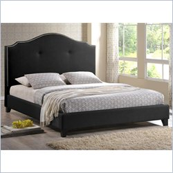Baxton Studio Marsha Scalloped Platform Bed with Upholstered Headboard in Black - Queen