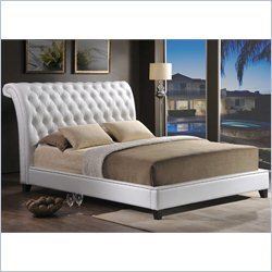 Baxton Studio Jazmin Tufted Leather Platform Bed in White - Queen