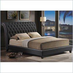 Baxton Studio Jazmin Tufted Platform Bed with Upholstered Headboard in Black - King