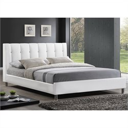 Vino Platform Bed with Upholstered Headboard in White