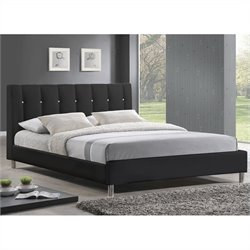 Baxton Studio Vino Platform Bed with Upholstered Headboard in Black