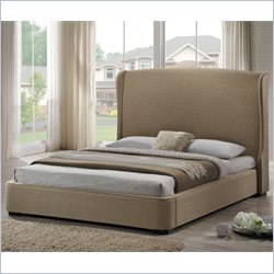 Baxton Studio Sheila Platform Bed with Upholstered Headboard in Tan - King