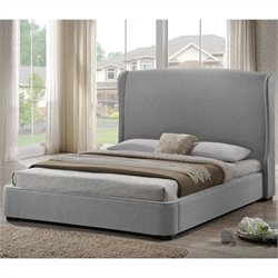 Baxton Studio Sheila Platform Bed with Upholstered Headboard in Grey - King