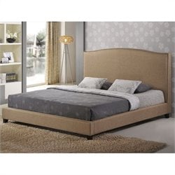Baxton Studio Aisling Platform Bed in Dark Beige - King