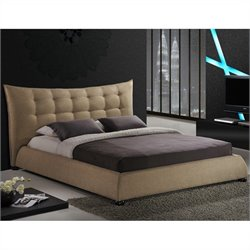 Baxton Studio Marguerite Platform Bed in Dark Beige - King