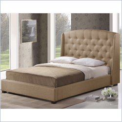 Baxton Studio Ipswich Platform Bed in Dark Beige - Queen