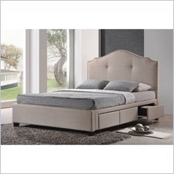 Baxton Studio Armeena Storage Bed with Upholstered Headboard in Beige