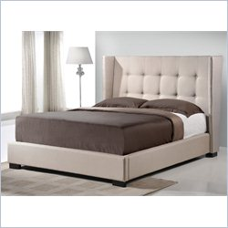 Favela Platform Bed with Upholstered Headboard in Light Beige