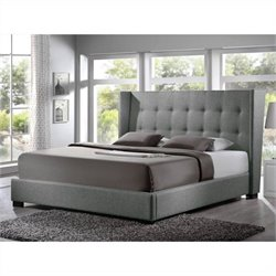 Favela Platform Bed with Upholstered Headboard in grey