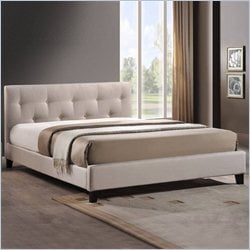 Baxton Studio Annette Upholstered Platform Bed in Light Beige