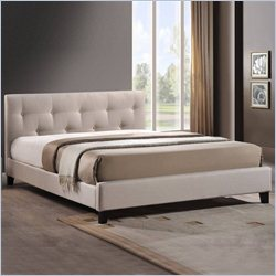 Annette Upholstered Platform Bed in Light Beige