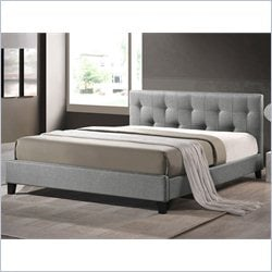 Annette Platform Bed with Upholstered Headboard in grey