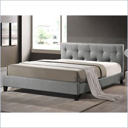 Baxton Studio Annette Platform Bed with Upholstered Headboard in grey - Queen