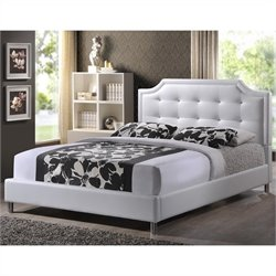 Baxton Studio Carlotta Platform Bed with Upholstered Headboard in White - King