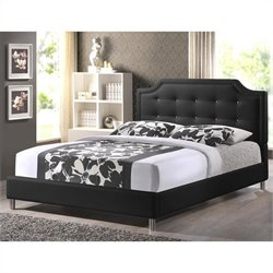 Baxton Studio Carlotta Platform Bed with Upholstered Headboard in Black - King