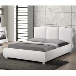 Baxton Studio Goodrick Platform Bed with Upholstered Headboard in White - Full