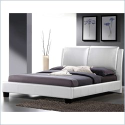 Baxton Studio Sabrina Leather King Platform Bed in White