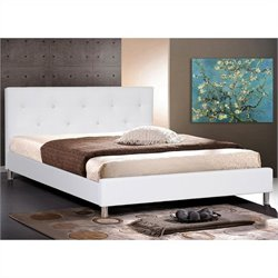 Baxton Studio Barbara Full Bed with Crystal Button Tufting in White