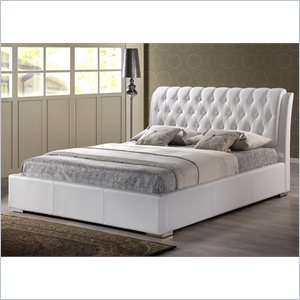 Bianca King Platform Bed with Tufted Headboard in White