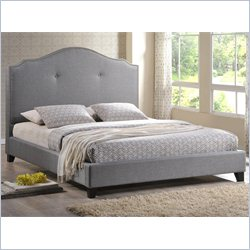 Baxton Studio Marsha Scalloped Queen Platform Bed with Upholstered Headboard in Gray