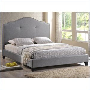 Marsha Scalloped King Platform Bed with Upholstered Headboard in Gray
