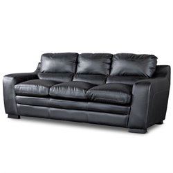 Baxton Studio Diplomat Leather Sofa in Black