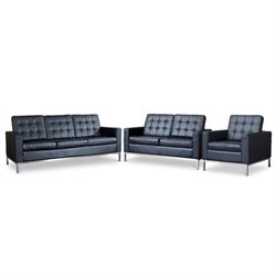 Baxton Studio Connoisseur 3 Piece Leather Sofa Set in Black