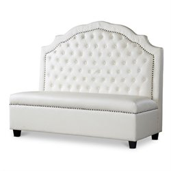 Baxton Studio Trumbull Leather Settee in Beige