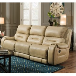 Southern Motion Sting Power Double Reclining Sofa in Mystro Champagne
