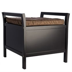 Elegant Home Fashions Davenport Storage Bench in Espresso