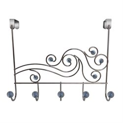 Elegant Home Fashions Over The Door Rack in Blue and Chrome