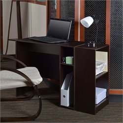 Niche Student Desk with 2-Shelf Bookcase in Truffle