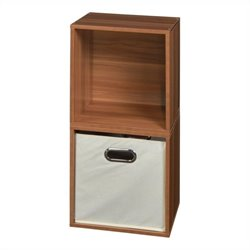 Niche Cubo 2-Cube Storage Set in Warm Cherry with 1 Canvas Tote Bin