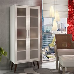 Manhattan Comfort Serra 5 Shelf Curio Cabinet in White and Splayed Wood