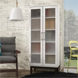 Manhattan Comfort Serra 5 Shelf Curio Cabinet in White and Wood