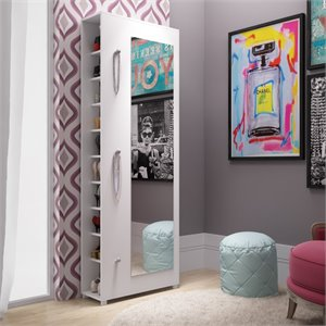 Manhattan Comfort Valencia 10 Shelf Shoe Closet with Mirror