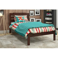 Manhattan Comfort Hayden Solid Pine Wood Twin Kids Bed in Brown