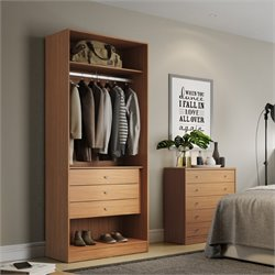 Manhattan Comfort Chelsea 3 Drawer Wardrobe Closet in Maple Cream