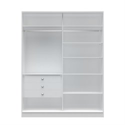 Manhattan Comfort Chelsea 3 Drawer Full Wardrobe in White