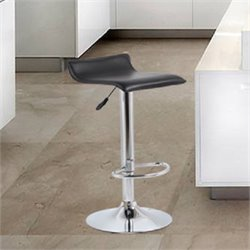 Manhattan Comfort Steegie Adjustable Bar Stool in Black (Set of 2)