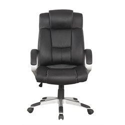 Manhattan Comfort Washington Leather Swivel Office Chair in Black