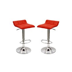 Manhattan Comfort Sleek Varick Leather Bar Stool in Red (Set of 2)