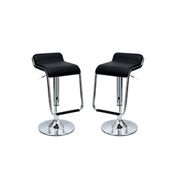Manhattan Comfort Horatio Faux Leather Bar Stool in Black (Set of 2)