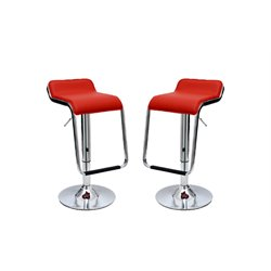 Manhattan Comfort Horatio Faux Leather Bar Stool in Red (Set of 2)
